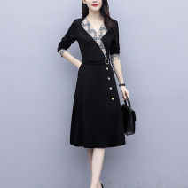 Women's large Spring 2021 Picture colors [French retro dress Hepburn], [skirt for fat people foreign style], [fat mm French Platycodon skirt], [fat mm smart dress] Dress singleton  commute easy moderate Socket Long sleeves other Korean version V-neck Three dimensional cutting routine Z27271231 Button