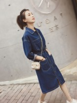 Dress Spring 2021 Denim blue S,M,L,XL,2XL Mid length dress singleton  Long sleeves commute Polo collar Solid color Single breasted Princess Dress routine Others 18-24 years old Type H Korean version Pocket, button Denim other