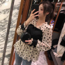 Lace / Chiffon Spring 2021 Black, maroon, purple, lake blue, champagne, pink, dark grey, white S,M,L,XL Long sleeves commute Socket singleton  Straight cylinder Regular V-neck Dot shirt sleeve 18-24 years old QEWS66520 Stitching, printing Korean version 96% and above