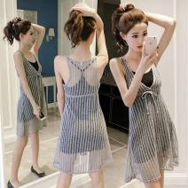 Dress Summer 2020 grey S,M,L,XL Middle-skirt Two piece set Sleeveless commute Crew neck middle-waisted Solid color Socket A-line skirt other camisole Type A Korean version Open back, lace up, bandage More than 95% polyester fiber