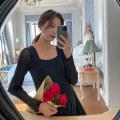 Dress happymaman Black, pink M,L,XL Europe and America Long sleeves Medium length spring square neck