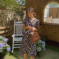 Dress happymaman black M,L,XL Europe and America Short sleeve routine summer V-neck Decor