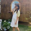 suit happymaman Top + suspender skirt, yellow top, white suspender skirt M,L,XL Korean version Short sleeve + skirt summer routine Solid color