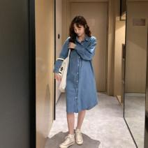 Dress happymaman blue Average size Korean version Long sleeves routine spring