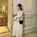 suit happymaman Dress + vest, white dress, apricot vest M,L,XL Korean version Short sleeve + skirt spring and autumn routine