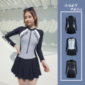 one piece  E Shuitian With chest pad without steel support Skirt one piece nylon Long sleeves female Casual swimsuit M,L,XL,XXL,XXXL,4XL,5XL D73, d75 black, d75 blue, d76, d77, D78, d79 black, d79 blue, D80 triangle conjoined body + skirt, d81, D85 gray, D85 red
