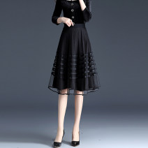 skirt Spring 2021 S,M,L,XL,2XL,3XL,4XL black Mid length dress commute High waist A-line skirt Solid color Type A 30-34 years old DWA1153 Lace Other / other Pleats, folds, waves, gauze, stitching, lace lady