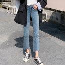 Jeans Spring 2021 588 [Retro Blue] [Capris] 589 [black] [Capris] 587 [smoke gray] [Capris] 6075 [Retro Blue] [Capris] 6076 [dark blue] [Capris] 588-1 [Retro Blue] [Capris] 6075-1 [Retro Blue] [Capris] 6076-1 [dark blue] [Capris] 24 25 26 27 28 29 30 31 32 33 Ninth pants High waist Straight pants