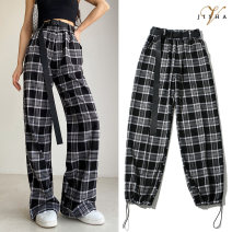 Casual pants Khaki, black and white S,M,L Spring 2021 trousers Wide leg pants High waist street routine 31% (inclusive) - 50% (inclusive) P8 cotton pocket cotton