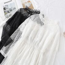 Dress Spring 2021 White, black S,M,L,XL,2XL longuette singleton  Long sleeves commute Lotus leaf collar Elastic waist Solid color A button Cake skirt pagoda sleeve Type A Korean version Flounce, hollow out, embroidery, fold, Auricularia auricula, Gouhua, hollow out, splicing, gauze net, lace Lace