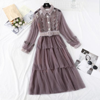 Dress Spring 2020 Apricot, black, pink, coffee S,M,L,XL longuette Two piece set Long sleeves commute Fur collar High waist Solid color Single breasted Cake skirt routine Type A Korean version More than 95% Lace
