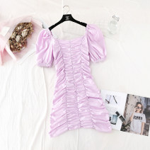 Dress Spring 2021 Purple, yellow, black XS,S,M Middle-skirt singleton  Short sleeve commute square neck High waist Solid color zipper A-line skirt puff sleeve Type A Korean version Pleated, zipper