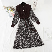 Dress Spring 2021 Apricot, black, coffee S,M,L,XL longuette Fake two pieces Long sleeves commute Admiral Elastic waist Broken flowers Single breasted Big swing routine Type A Retro Bowknot, lace up, stitching, bandage, button, print knitting