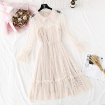 Dress Spring 2021 S,M,L,XL Mid length dress Fake two pieces Long sleeves commute Polo collar High waist Solid color A button Ruffle Skirt pagoda sleeve Type H Korean version Lace