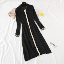 Dress Spring 2021 black S,M,L,XL Mid length dress singleton  Long sleeves commute Polo collar High waist Solid color Single breasted Ruffle Skirt routine Type A Korean version Pleats, stitches, buttons knitting