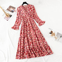 Dress Spring 2021 Geometric powder S,M,L,XL,2XL longuette singleton  Long sleeves commute V-neck High waist Abstract pattern zipper Ruffle Skirt Lotus leaf sleeve Type A Korean version Ruffles, zippers, prints More than 95% Chiffon
