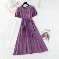 Dress Spring 2021 Purple, blue, black, pink S,M,L longuette singleton  Short sleeve commute Crew neck Loose waist Solid color A button Big swing puff sleeve Type A Korean version Bowknot, fold, lace up, stitching, button More than 95%
