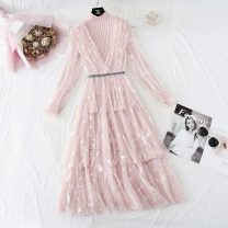 Dress Spring 2021 Purple, apricot, black, pink S,M,L,XL longuette Two piece set Long sleeves commute V-neck Elastic waist Solid color Socket A-line skirt routine 25-29 years old Type A Korean version Lace, bright silk, stitching, gauze, lace knitting polyester fiber