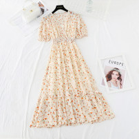 Dress Spring 2021 Yellow, purple, blue S,M,L,XL longuette Two piece set Short sleeve commute V-neck Elastic waist Broken flowers Socket Ruffle Skirt puff sleeve Type A Retro Flounce, hollow out, Auricularia auricula, Gouhua, hollow out, splicing, printing More than 95% Chiffon