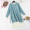Dress Winter of 2019 Purple, gray, pink, blue S,M,L,XL longuette Two piece set Long sleeves commute Lotus leaf collar High waist Solid color A button Ruffle Skirt routine Type A Korean version Ruffles, folds, Auricularia auricula, stitching, buttons, mesh, lace More than 95% knitting