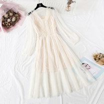 Dress Spring 2021 S,M,L longuette Two piece set Long sleeves commute V-neck High waist Solid color Socket Big swing Wrap sleeves Type A Korean version More than 95% Lace