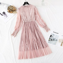 Dress Spring 2021 Apricot, blue, black, white, pink S,M,L,XL longuette singleton  Long sleeves commute other High waist Solid color A button Big swing other Type A Korean version Hollowing, folding, Gouhua, hollowing, splicing, gauze, lace More than 95% Lace