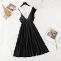 Dress Summer 2020 black S,M,L,XL Mid length dress Fake two pieces Short sleeve commute Crew neck middle-waisted Solid color Socket A-line skirt Others Type A Korean version Splicing, asymmetric Chiffon