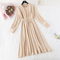 Dress Spring 2021 S,M,L,XL,2XL longuette singleton  Long sleeves commute Crew neck Loose waist Solid color A button A-line skirt routine Type H Korean version Fold, tie, tie More than 95% Chiffon