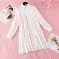 Dress Spring 2021 White, dark grey, black S,M,L,XL Mid length dress singleton  Long sleeves commute Polo collar Loose waist Solid color Single breasted Big swing routine Type H Korean version Ruffles, folds, Auricularia auricula, buttons More than 95%