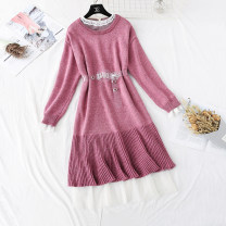 Dress Winter of 2019 Blue, purple, pink S,M,L,XL longuette Two piece set Long sleeves commute Lotus leaf collar High waist Solid color Socket Ruffle Skirt routine Type A Korean version Flounce, hollowed out, pleated, Gouhua, hollowed out, lace, stitching, mesh, lace More than 95% knitting