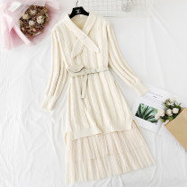 Dress Spring 2021 Orange, apricot, green, blue violet S,M,L,XL longuette Two piece set Long sleeves commute V-neck Elastic waist Solid color Socket Pleated skirt routine Type H Korean version Bow, ruffle, fold, lace, lace, net, lace knitting