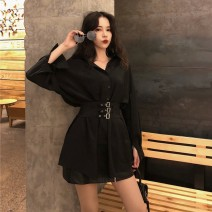 Dress Spring of 2019 Black, add shopping cart collection, buy and give small gifts S,M,L,XL Short skirt singleton  Long sleeves commute Polo collar High waist Solid color Single breasted A-line skirt routine Others Type A Korean version Lace up, button