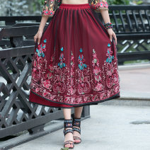 skirt Summer 2021 Average size claret longuette commute Natural waist A-line skirt Decor Type A 81% (inclusive) - 90% (inclusive) other Embroidery Retro