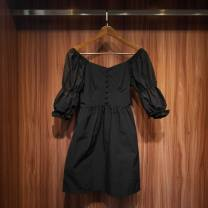 Dress Summer 2021 black S,M,L Short skirt singleton  three quarter sleeve Sweet square neck High waist Solid color zipper other other Others Panel, button, zipper 51% (inclusive) - 70% (inclusive) Ruili