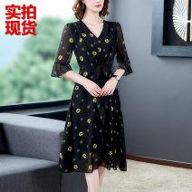 Dress Summer 2021 Decor S,M,L,XL,2XL,3XL Mid length dress singleton  three quarter sleeve commute V-neck middle-waisted Decor Socket Big swing pagoda sleeve lady 6719#