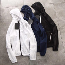 Jacket Other / other Youth fashion White - sunscreen black - sunscreen Navy - sunscreen M L XL 2XL thin easy Other leisure summer Long sleeves Wear out Hood tide youth routine 2018 Rubber band hem No iron treatment Closing sleeve