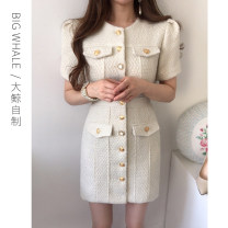 Dress Spring 2021 Apricot S,M,L Short skirt singleton  Long sleeves commute Crew neck High waist Solid color Single breasted other puff sleeve Others 25-29 years old Type H Korean version Button L30094 81% (inclusive) - 90% (inclusive) other other
