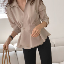 shirt Brown, black S,M,L Autumn 2020 other 81% (inclusive) - 90% (inclusive) Long sleeves commute Regular Polo collar other shirt sleeve Solid color 25-29 years old Self cultivation Korean version S23032 Button