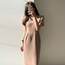 Dress Summer 2020 Khaki, black S,M,L longuette singleton  Short sleeve commute V-neck High waist Solid color zipper Pencil skirt routine Others 25-29 years old Type H Korean version zipper L21741 81% (inclusive) - 90% (inclusive) other other