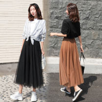 skirt Winter of 2019 S M L XL 2XL longuette Versatile High waist A-line skirt Solid color Type A 18-24 years old More than 95% Gemini polyester fiber Pleated mesh lace Polyester 99.9% others 0.1% Pure e-commerce (online only)