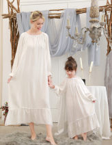 Home skirt / Nightgown Princess House Cotton 100% 698 white elastic collar with 3 / 4 sleeves, 698 white elastic collar with long sleeves, 698 pink elastic collar with long sleeves, pink modal 890-1 with long sleeves, white modal 890-1 with long sleeves Four seasons female Class A cotton