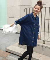 shirt navy blue Average size Autumn 2020 cotton 96% and above Long sleeves Versatile Medium length V-neck Single row multi button routine Solid color 18-24 years old High waist type Chuyuan cy-026 Embroidery, buttons cotton