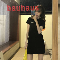 Dress Summer 2020 black Average size Short skirt singleton  Short sleeve commute Polo collar middle-waisted Solid color other other routine Others 18-24 years old Type H Sakura Kawabata Simplicity 51% (inclusive) - 70% (inclusive) other