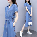 Dress Summer of 2019 S,M,L,XL,2XL,3XL Mid length dress singleton  Short sleeve street Polo collar middle-waisted Single breasted A-line skirt routine Others Type A More than 95% Denim Europe and America