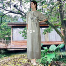 Dress Summer 2020 Light grey M, L Mid length dress singleton  elbow sleeve commute square neck Loose waist Solid color Socket A-line skirt routine Others 35-39 years old Type A In the flower room literature More than 95% other hemp