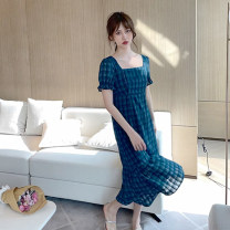 Dress Summer 2021 S. M, l, s (10 working days), m (10 working days), l (10 working days) Mid length dress Short sleeve commute square neck High waist lattice other A-line skirt puff sleeve Others 18-24 years old Type X Independents Korean version 91% (inclusive) - 95% (inclusive) other