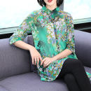shirt Non positioning flower green M,L,XL,2XL,3XL,4XL Summer of 2019 polyester fiber 51% (inclusive) - 70% (inclusive) three quarter sleeve commute Medium length square neck Single row multi button routine Straight cylinder Other / other Ol style