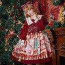 Dress Autumn 2020 claret S,M,L,XL Mid length dress singleton  Long sleeves Sweet Admiral High waist other Three buttons Princess Dress bishop sleeve Others 18-24 years old Type A Eieyomi Bow, ruffle, pleat, Auricularia auricula, stitching, three-dimensional decoration, zipper, lace, printing A-66
