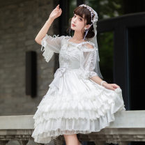 Dress Autumn of 2019 white S,M,L,XL Mid length dress singleton  Sleeveless Sweet other High waist Solid color Socket Princess Dress other camisole 18-24 years old Type A Eieyomi A-23-01 51% (inclusive) - 70% (inclusive) other polyester fiber Lolita
