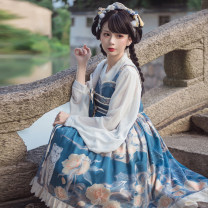 Dress Autumn 2020 Flower feast blue S,M,L,XL Mid length dress singleton  Sleeveless Sweet other High waist other Socket Princess Dress other camisole 18-24 years old Type A Eieyomi Bowknot, ruffle, pleat, Auricularia auricula, lace, stitching, three-dimensional decoration, zipper, lace, printing A-62